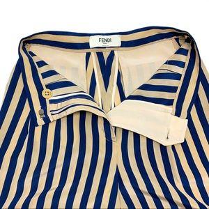 Fendi High Rise Blue Beige Stripe Pants with Cuff